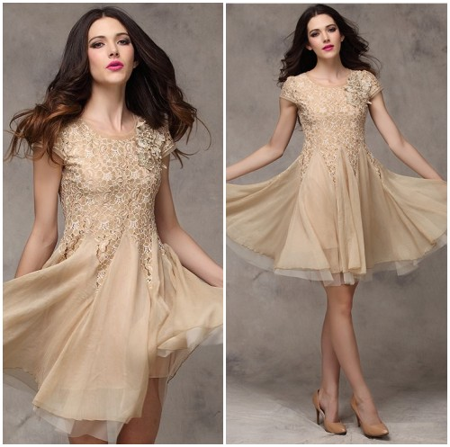 Vintage pearl flower short sleeve beaded lace beige prom for Beige short wedding dresses